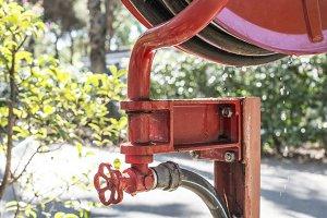 Fire extinguisher in a garden
