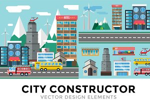 Buildings and city transport vector