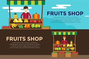 Fruit and vegetables shop vector
