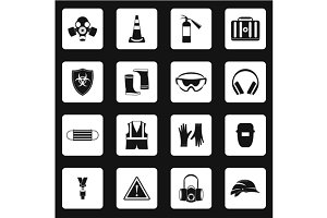 Individual protection icons set