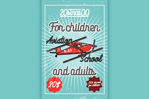 Color vintage Aviation poster