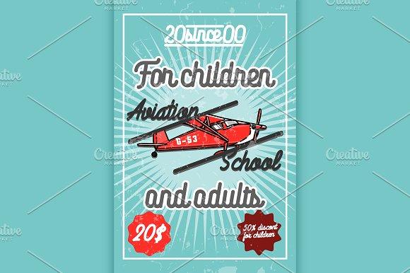 Color vintage Aviation poster in Illustrations