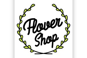Color vintage flower shop emblem