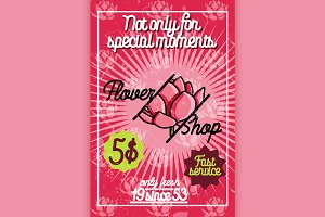 Color vintage flower shop poster