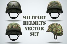 Set of Military camouflage helmets