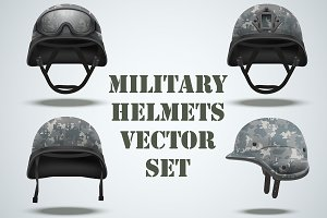 Set of Military digital camo helmets