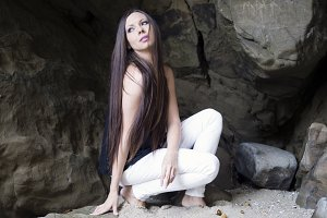 Cave girl looking up