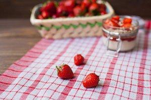 Fresh strawberries with cream