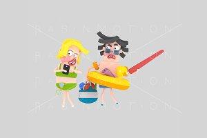 3d illustration. Couple beach.