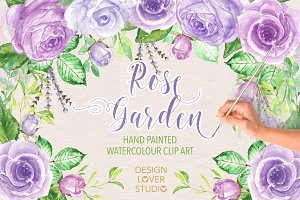 Watercolor purple rose garden II