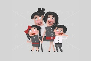 3d illustration. Brunette family.