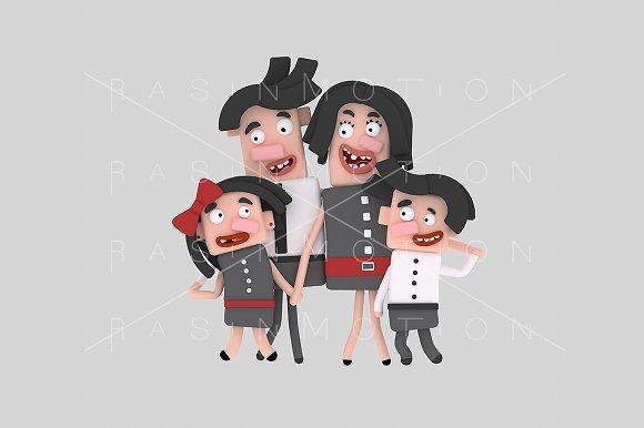 3d illustration. Brunette family. - Illustrations