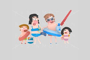3d illustration. Family beach.