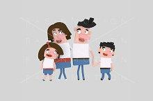 3d illustration. Brunette family.
