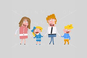 3d illustration. Blonde family.