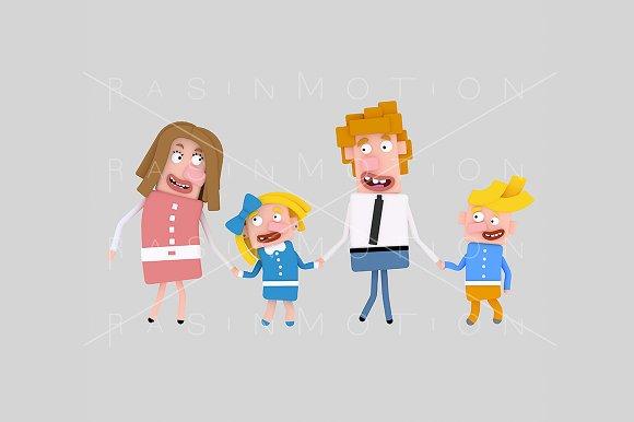 3d illustration. Blonde family. - Illustrations