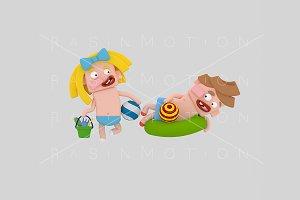 3d illustration. Children beach.