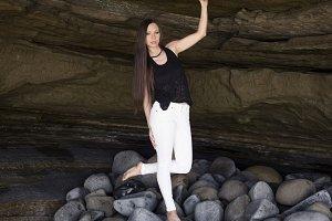 cave girl standing still