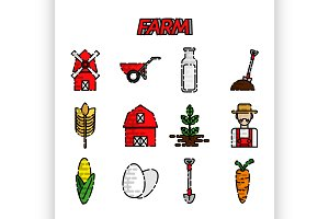 Farm flat icons set