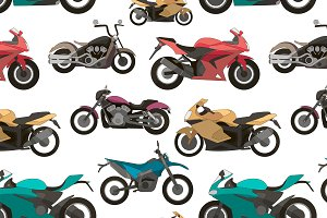 Motorcycle Icons set pattern