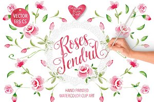 "Watercolor ""Roses Tendril"" design"