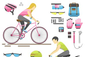 Vector people on bicycles