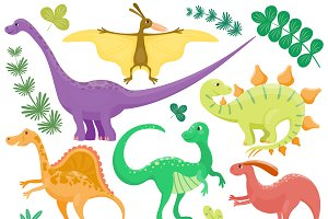 Dinosaur cartoon collection vector