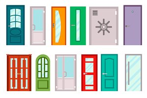 Set of color doors vector