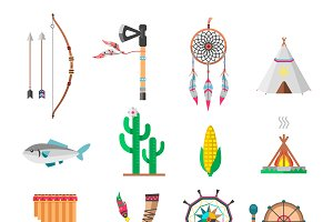 Indians icon vector set