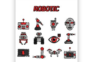 Robotic flat icon set