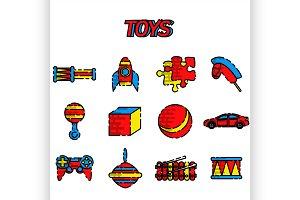 Toys flat icon set