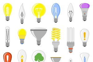 Cartoon lamps electric vector set