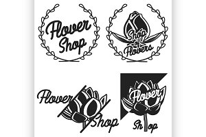 Vintage flower shop emblems