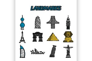 World landmarks flat icons set