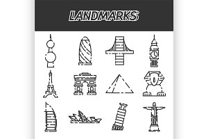 World landmarks icons set