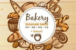 Bakery + Honey hand drawn set