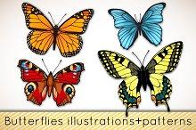 Butterflies patterns+illustrations