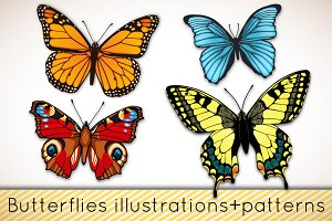 Butterflies patterns+illustrations