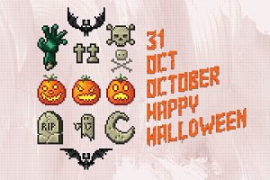 Set of Halloween Labels. Pixel Art.