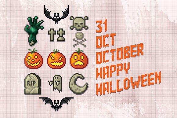 Set of Halloween Labels. Pixel Art. ~ Illustrations ~ Creative Market