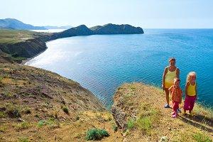 Family near sea, Crimea