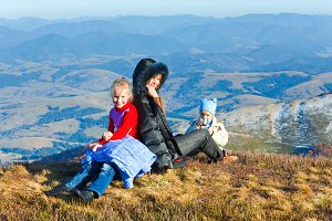Family in October Carpathian