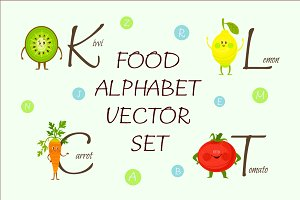 Food alphabet vector set