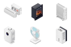 Home climate equipment icons set