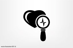 Heart and magnifier icon