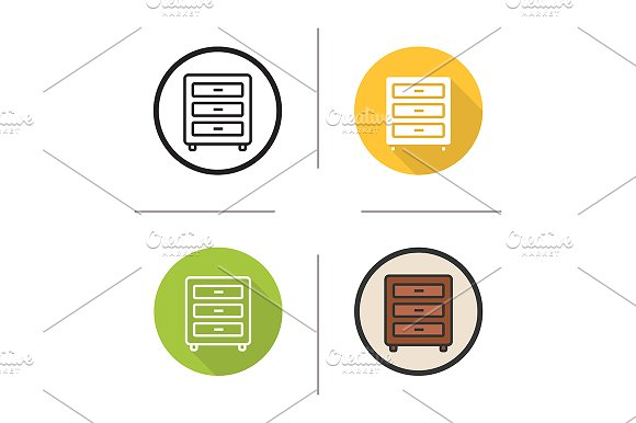 Chest of drawers. 4 icons. Vector - Icons