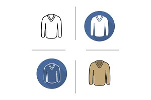 Pullover. 4 icons. Vector