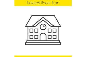 School building linear icon. Vector