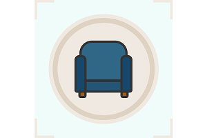 Armchair color icon. Vector