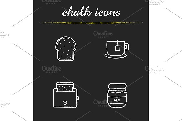 Breakfast items. 4 icons. Vector - Icons